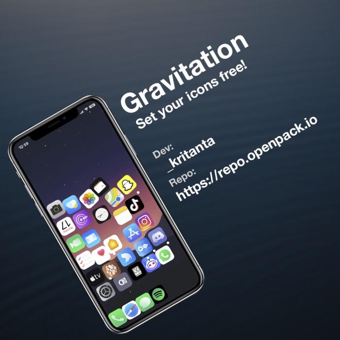 """苹果iPhone越狱插件Gravitation:为主屏幕图标加入""""重力""""效果"""