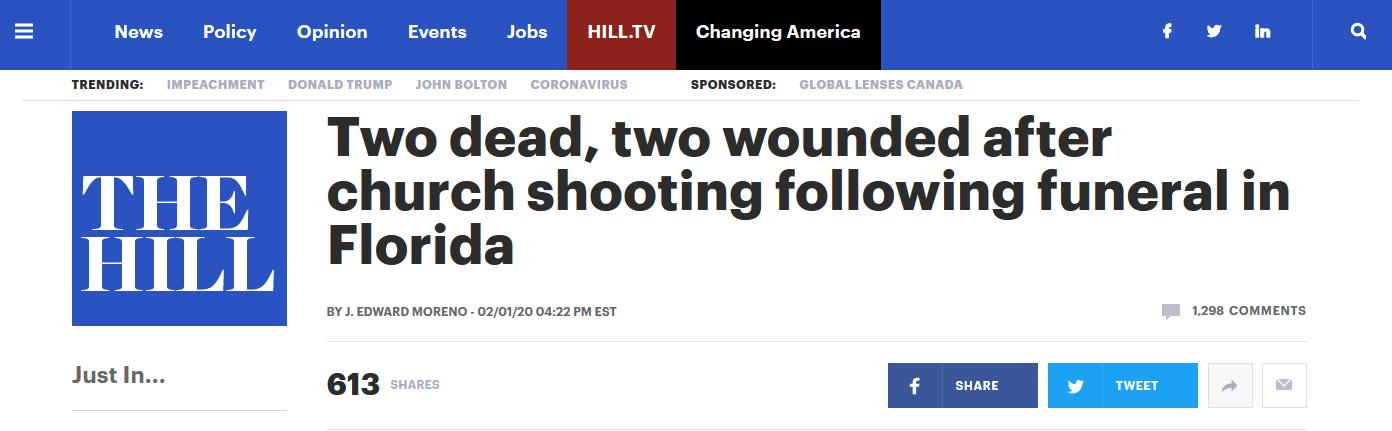 快讯!美佛州一教堂发生枪击案 致2死2伤