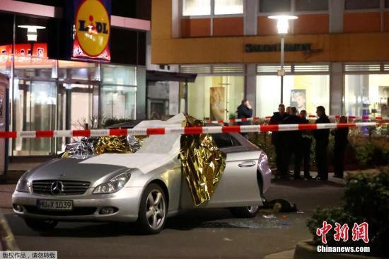 德国法兰克福卫星城哈瑙当地时间2月20日凌晨发生一起枪击案,造成多人死伤。图为枪击案现场。
