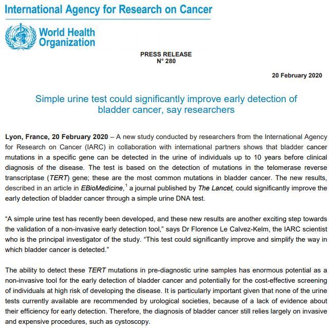 膀胱癌早筛研究新进展 尿检有望在病征出现十年前发现