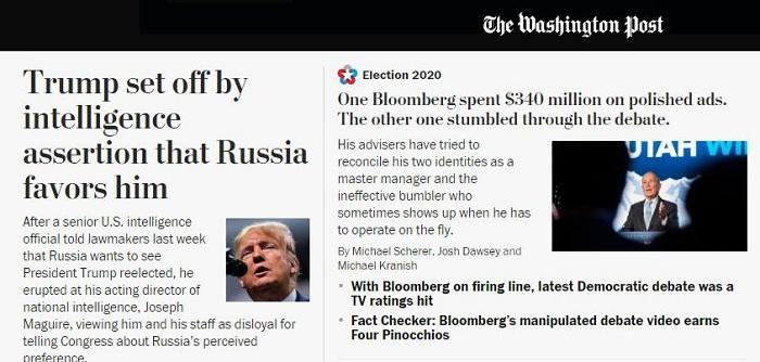 图片来源:华盛顿邮报网网站首页头条截图