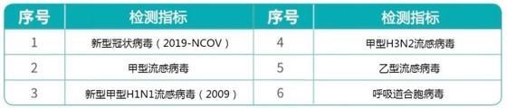 试剂盒可检测的6项呼吸道常见病毒。四川大学华西医院供图