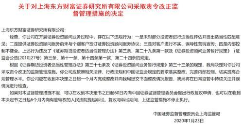 东方财富证券研究所遭责令改正 32家投资咨询机构受暂停新增客户处罚