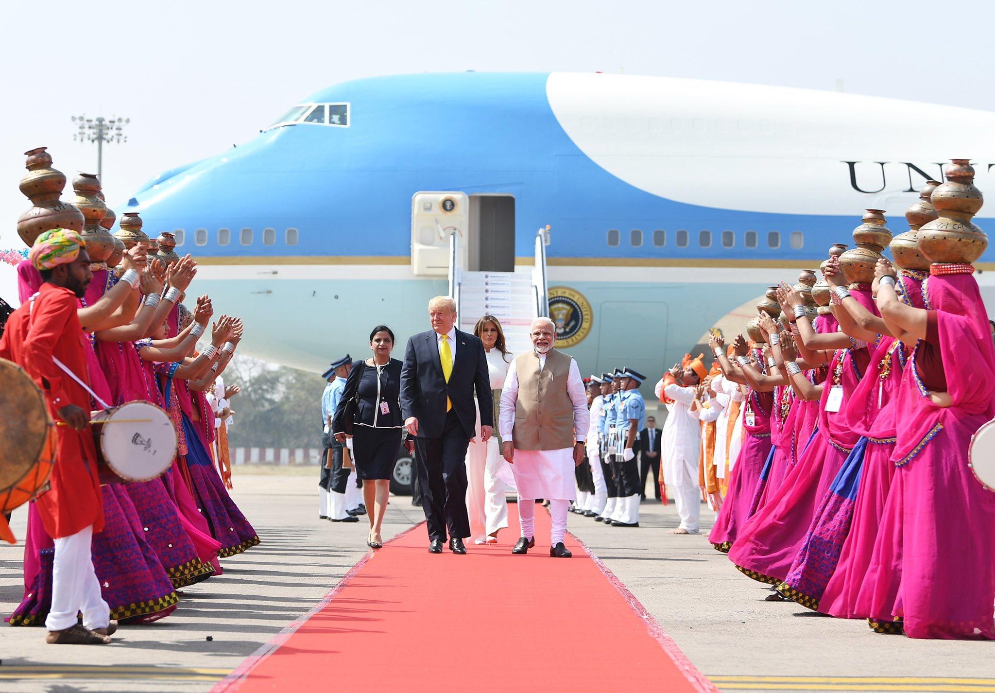 特朗普到访印度 图片来源:莫迪推特截图
