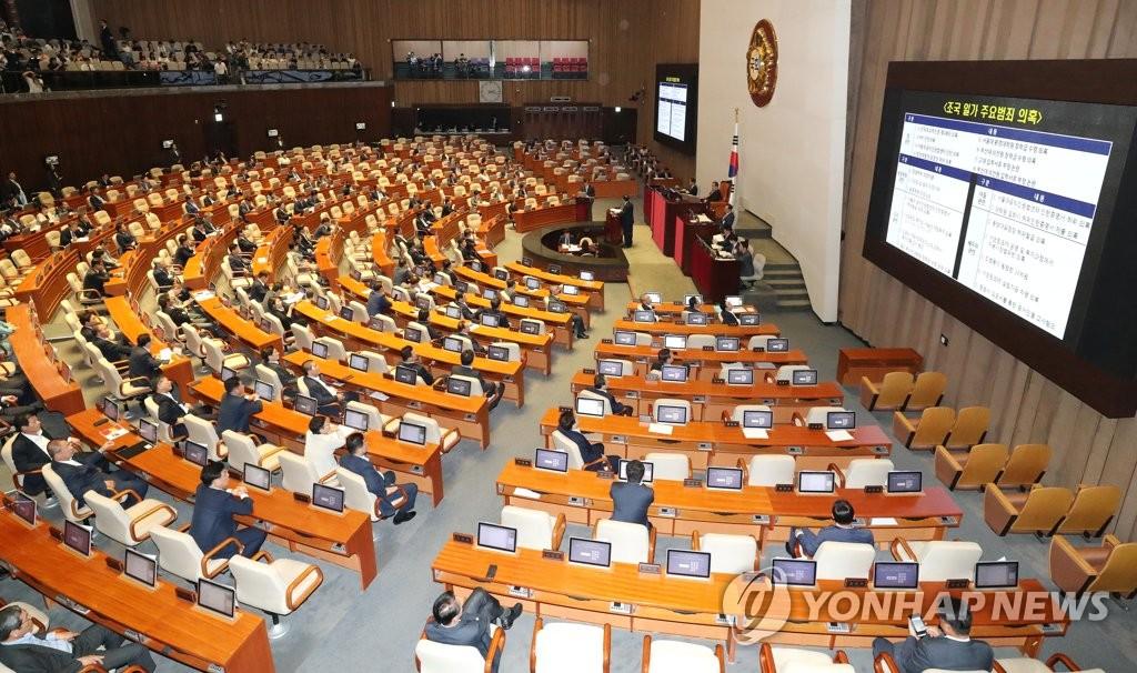 韩国国会对政府质询现场(韩联社)