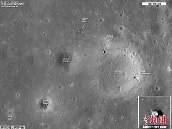 资料图:美国国家宇航局(NASA)公布的阿波罗系列探测器在月球表面着陆的痕迹。