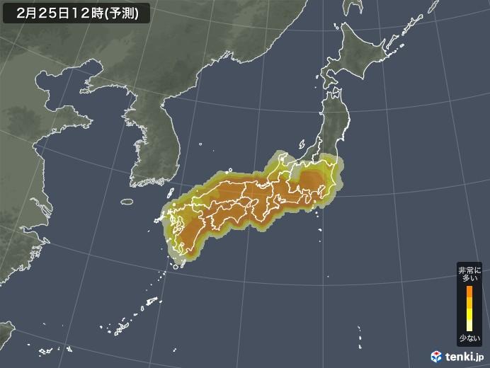 日本花粉飘散情况预报图(日本气象协会)