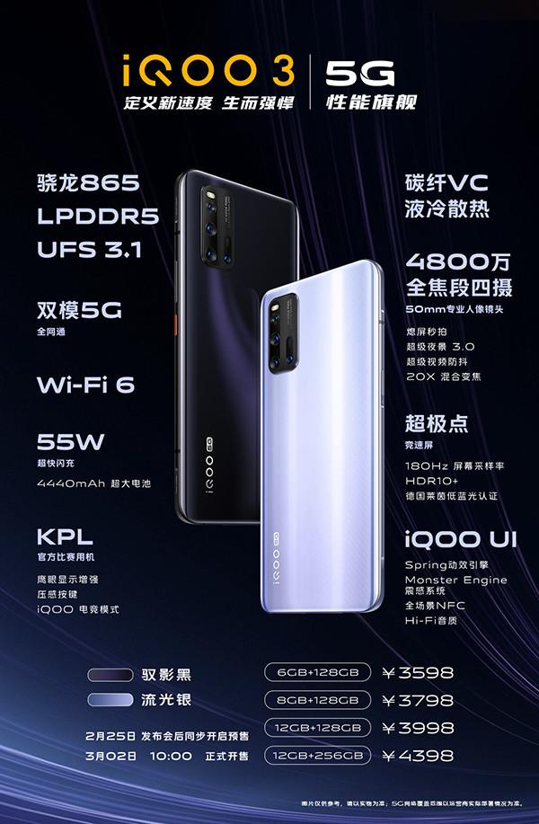 一张图看懂iQOO 3 5G性能旗舰 搭载骁龙865生而强悍