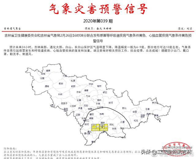 吉林省卫生健康委员会和吉林省气象局2月26日16时08分联合发布感冒等呼吸道疾病气象条件黄色预警信号