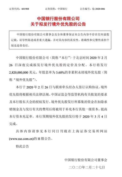 中国银行:拟发行28.2亿美元境外优先股 年股息率为3.6%