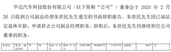华达科技副总经理朱世民辞职 2018年薪酬为66万元