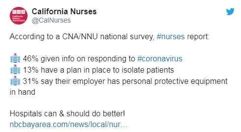 ▲加利福尼亚州护士协会推特截图