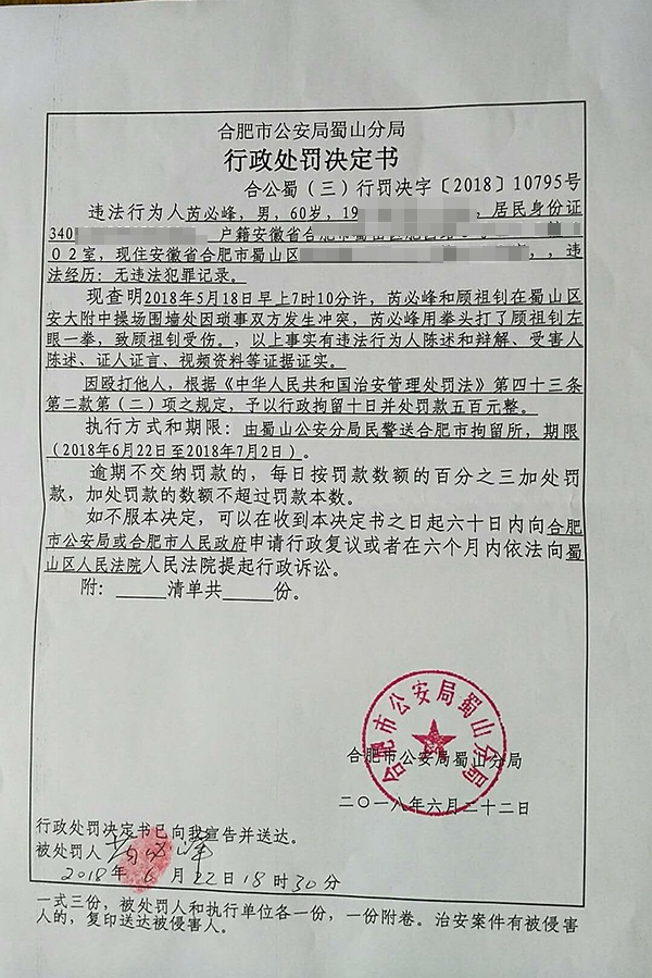 致78岁教授十级伤残,安大新闻传播学院原院长芮必峰获缓刑