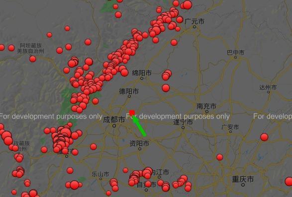 (1900年1月1日-2020年2月3日,成都附近地震分布图,绿色箭头所指为本次震中,可以发现为最接近成都主城区的地震)
