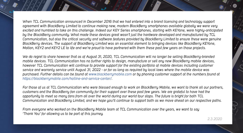 TCL 8月起停售 黑莓手机恐将彻底告别历史舞台