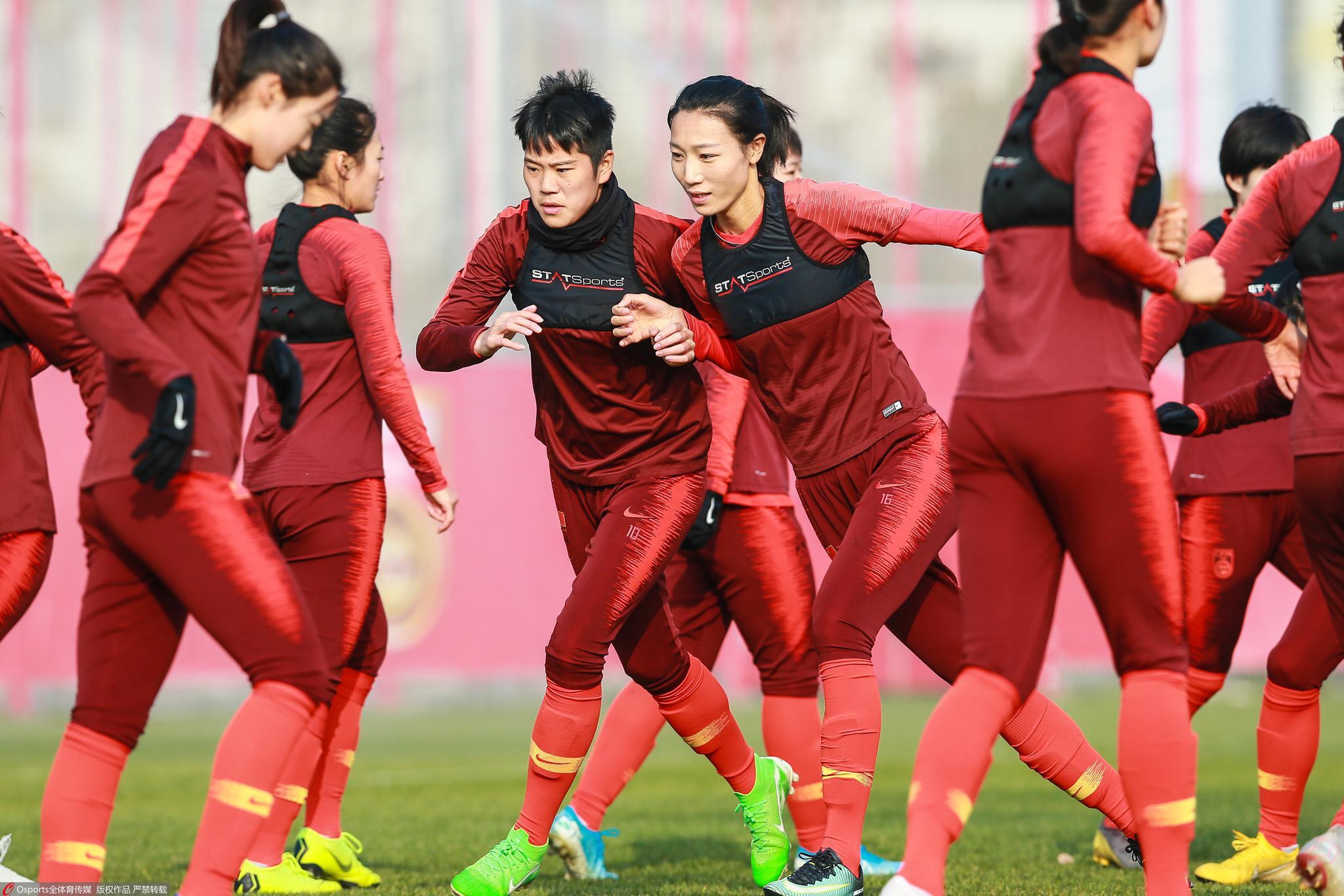 1月,女足在武汉练习。图/Osports