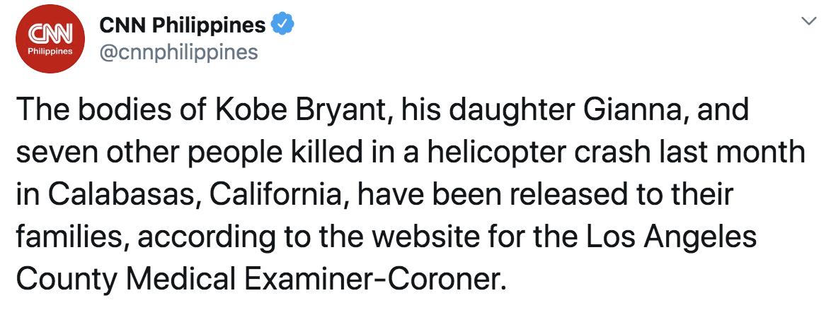 科比及其女儿遗体已移交家属,坠机初步报告即将公布图片