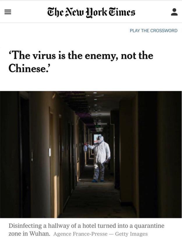 """纽约时报:""""我们共同的敌人是病毒而非中国人""""图片"""