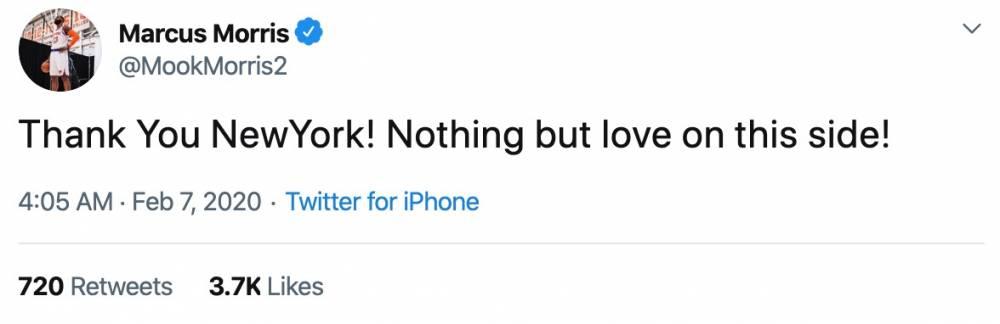 小莫里斯发推致谢尼克斯:对你们没有别的只有爱!