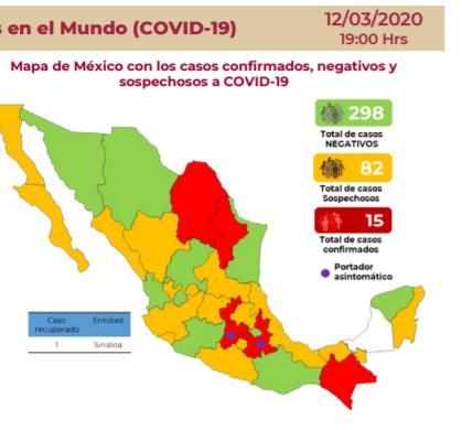 △图片来源墨西哥卫生部官网(红色为确诊病例 黄色为疑似病例 绿色为已经排除疑似病例)