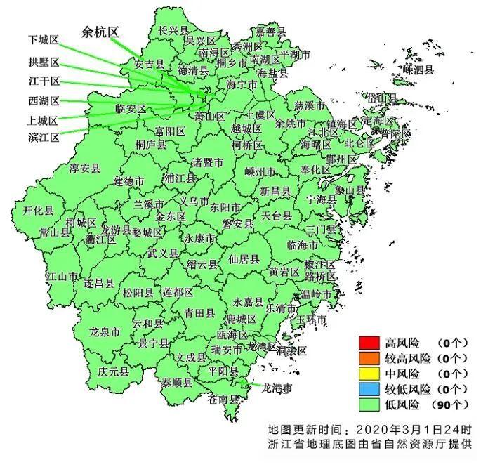"""""""五色图""""全绿,浙江全省所有县市区均为绿色低风险图片"""