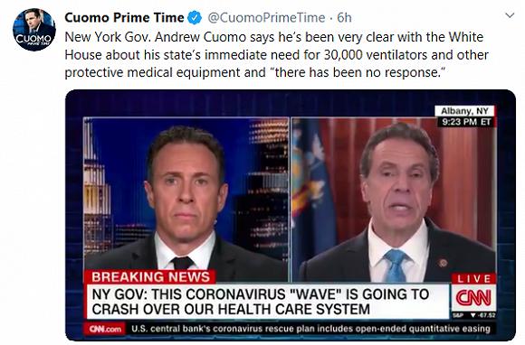 纽约州州长(右)接受弟弟 (左) CNN主持人的采访。 来源:推特