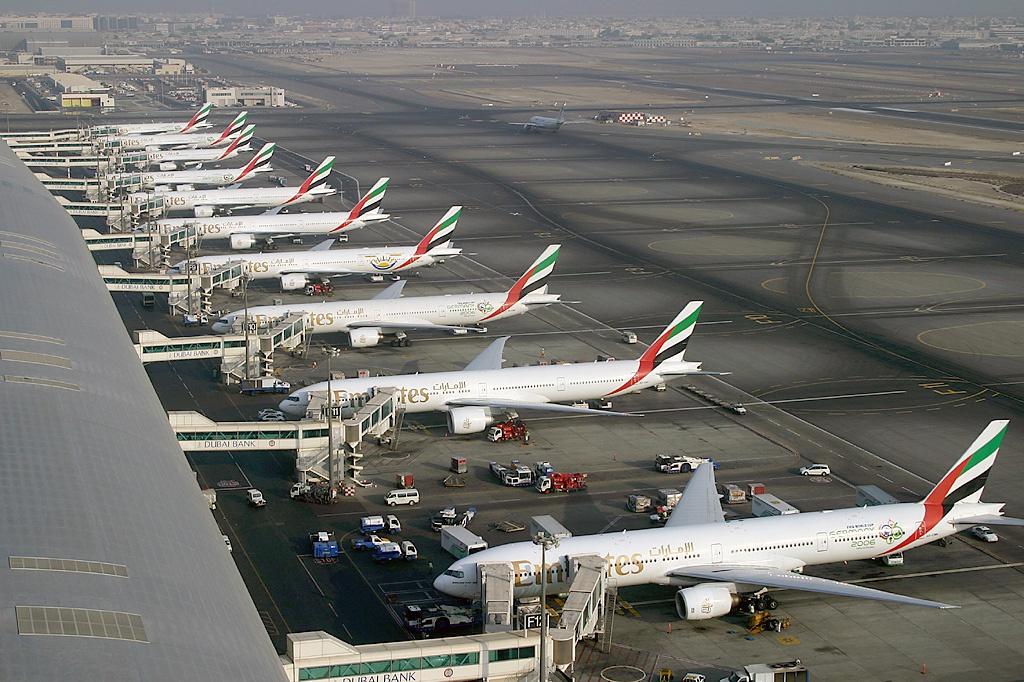 △迪拜国际机场的阿联酋航空波音777机队