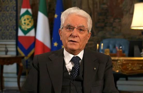 △意大利总统马塔雷拉发表视频讲话(视频截图)