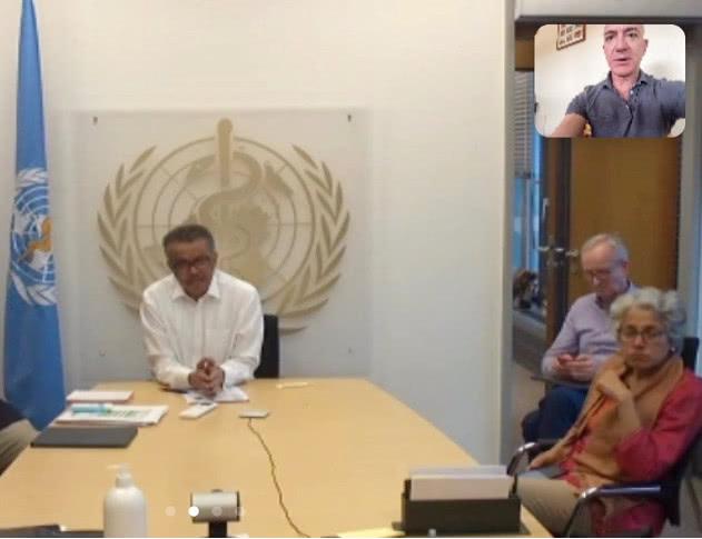贝索斯与世卫组织总干事视频 称亚马逊愿向全球递送新冠病毒测试包