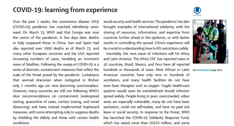 《柳叶刀》:应对新冠肺炎疫情要学习中国经验以及加强全球合作图片