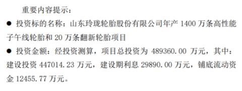 玲珑轮胎投资设厂并设立子公司 项目总投资为48.94亿元