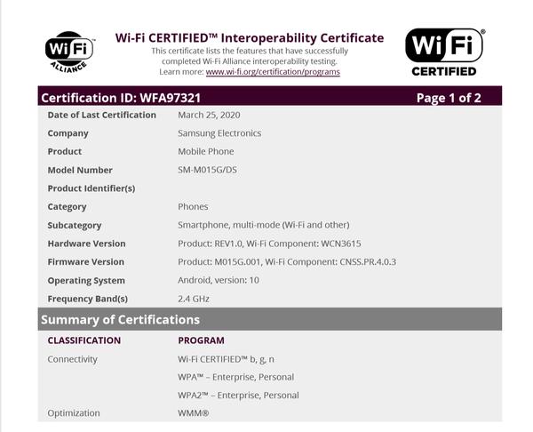 三星M01通过WiFi认证!定位入门市场或搭载骁龙439