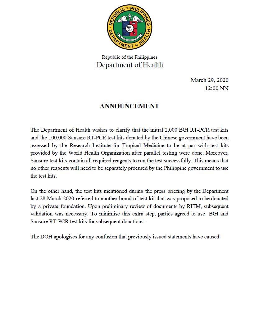 菲律宾卫生部称中国援菲核酸检测试剂盒符合世卫标准:表示歉意并再次感谢图片