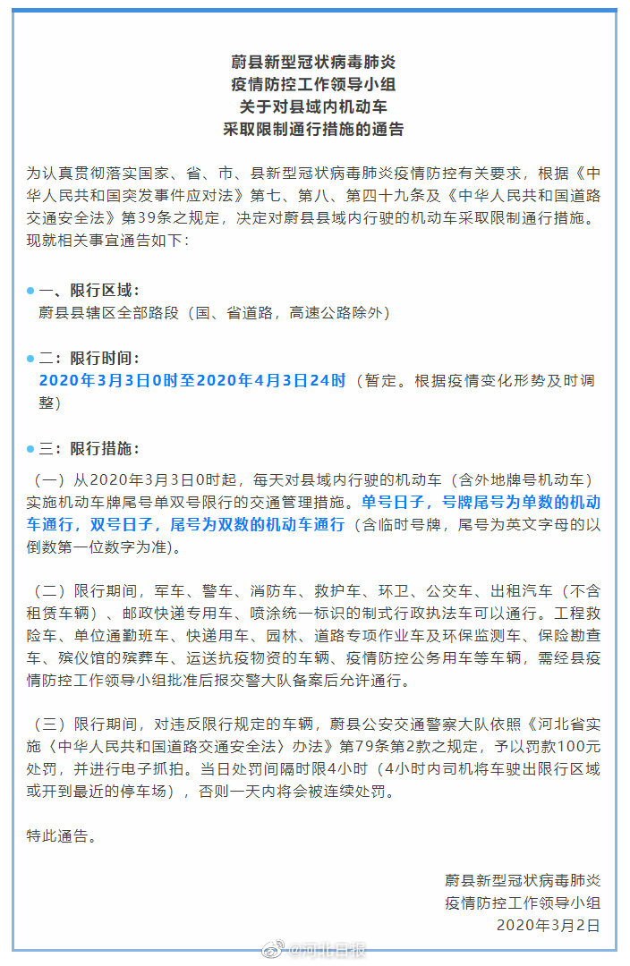 为防控疫情 张家口蔚县采取机动车单双号限行措施图片