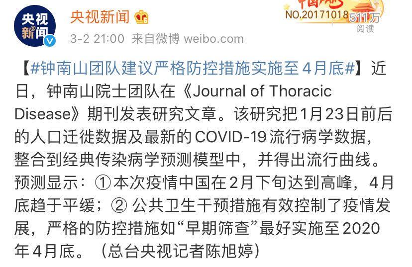 【蓝冠】钟南山团队为什么建议严格防蓝冠控至4月图片