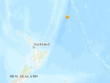 北京时间17时11分许,新西兰东北部海域发生5.0级地震。(图片来源:美国地质勘探局网站截图)