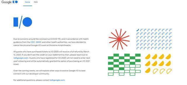 因冠状病毒疫情,Google宣布取消I / O开发者大会