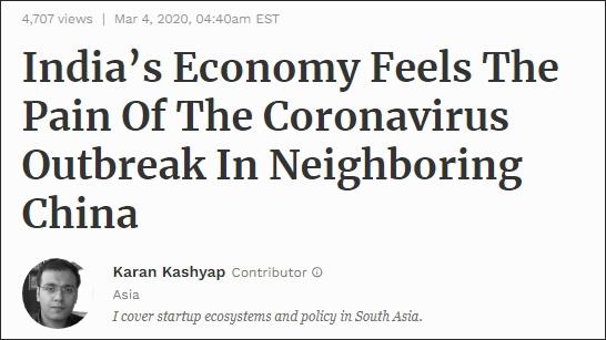 《福布斯》报道截图:中国疫情爆发,印度经济感受切肤之痛