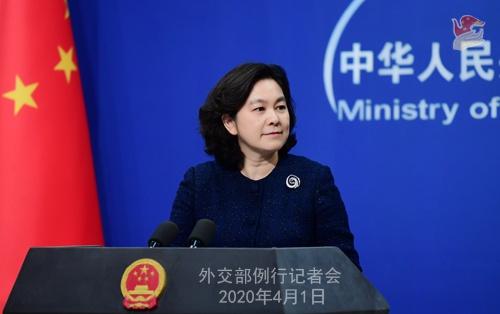 2020年4月1日外交部发言人华春莹主持例行记者会图片