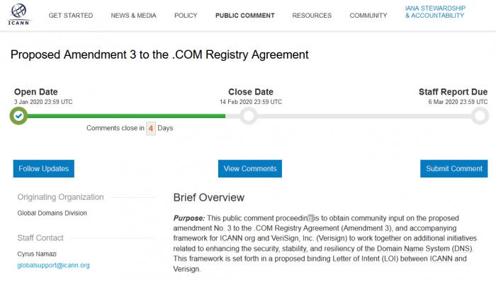 ICANN 批准了 Verisign 的合同 .com域名将涨价