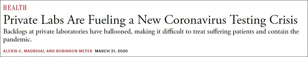 """""""私人实验室正在引发新的新冠病毒检测危机"""" 截图:《大西洋月刊》"""