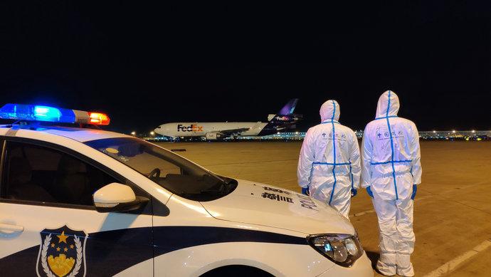 摩天主管中国自提摩天主管防疫物资的货包机图片