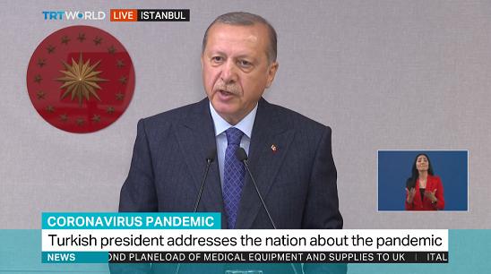图:土耳其总统埃尔多安发表全国电视讲话