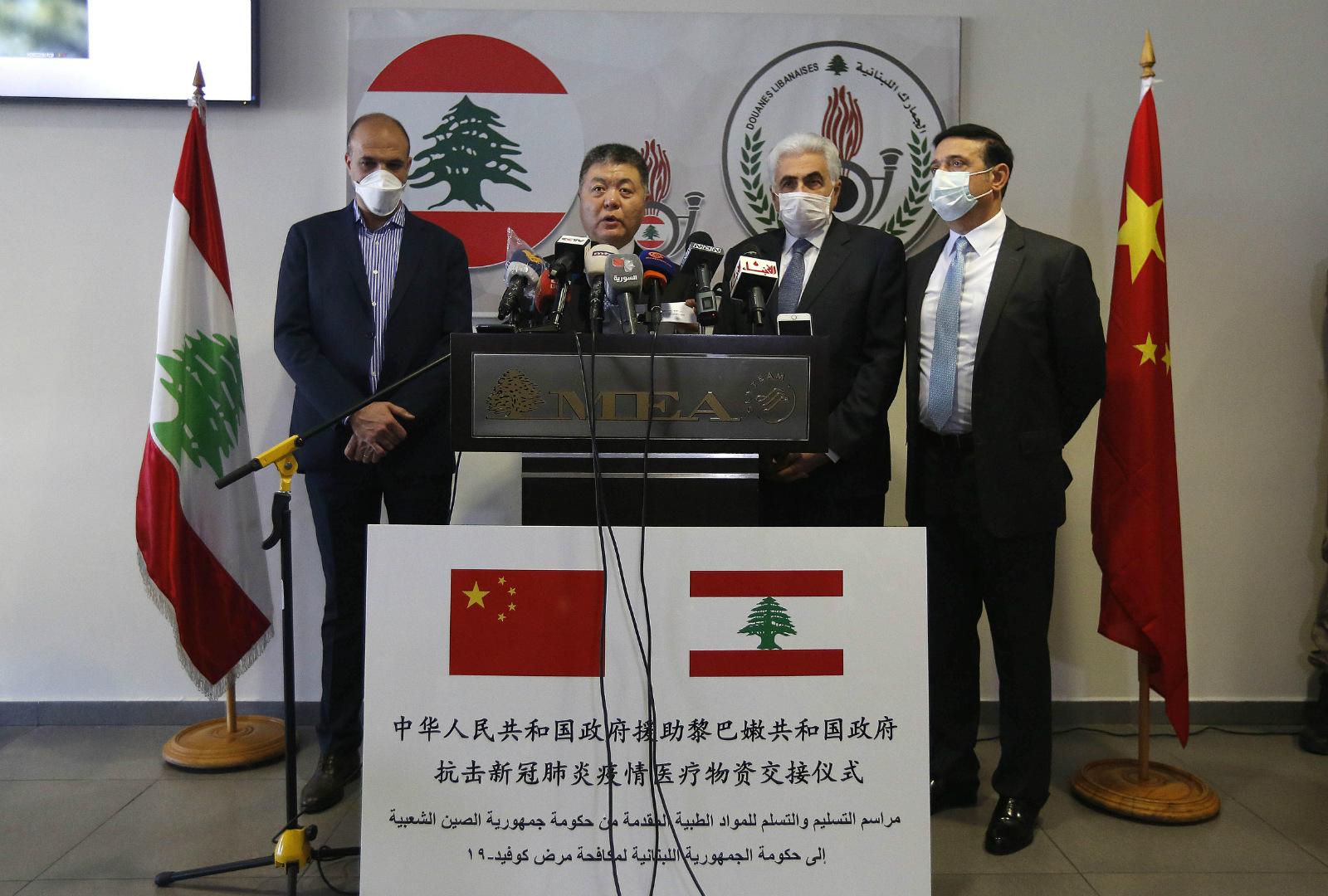 中方向黎巴嫩交付抗疫物资援助图片