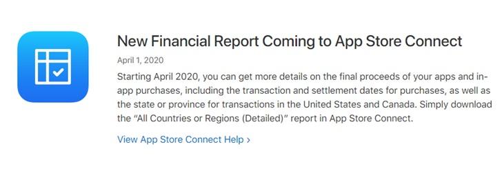 苹果 App Store Connect 将为开发者提供全新财务报告