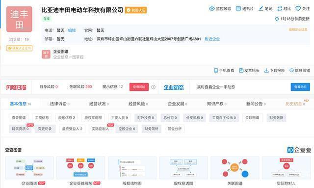 比亚迪丰田电动车科技有限公司正式注册成立,落地于深圳