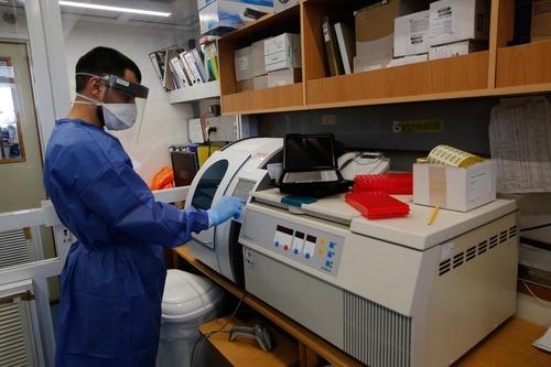 3月29日,在以色列南部城市阿什凯隆巴尔齐莱医学中心的微生物实验室里,身着防护装置的操作员对采集的样本进行检测。新华社发