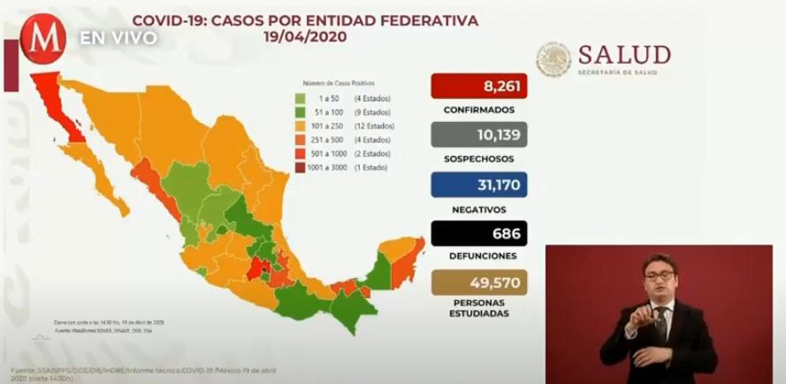 △图片来源:墨西哥卫生部 图中:红色为确诊病例 灰色为疑似病例 蓝色为已经排除的疑似病例 黑色为死亡病例