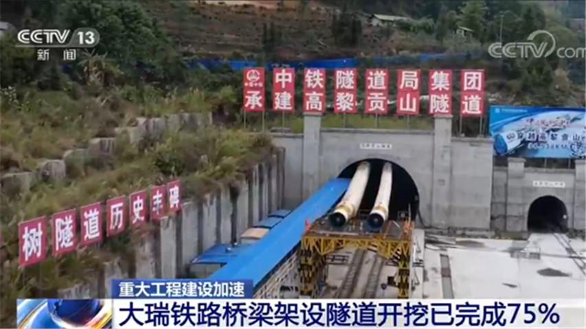 工程建设加杏悦注册速大瑞铁路桥梁架设,杏悦注册图片