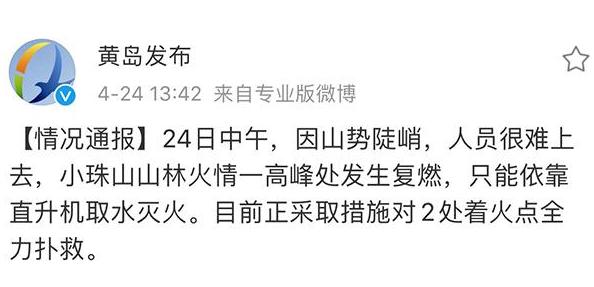 青岛小珠山火灾复燃 扑救人员:火势并未蔓延至城区图片
